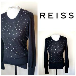 REISS Merino Wool Studded Sweater